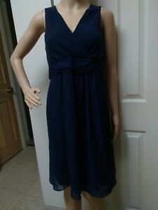 23496b8a97bdb Image is loading Motherhood-Maternity-Navy-Blue-Sheer-Sleeveless-Dress -Lined-