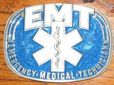 EMT Emergency Medical Technician Fire & Rescue Enameled Blue Belt Buckle