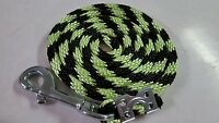 Nylon Poly Miniature Horse Or Pony Lead Rope Usa Made- Candy Cane Lime/black