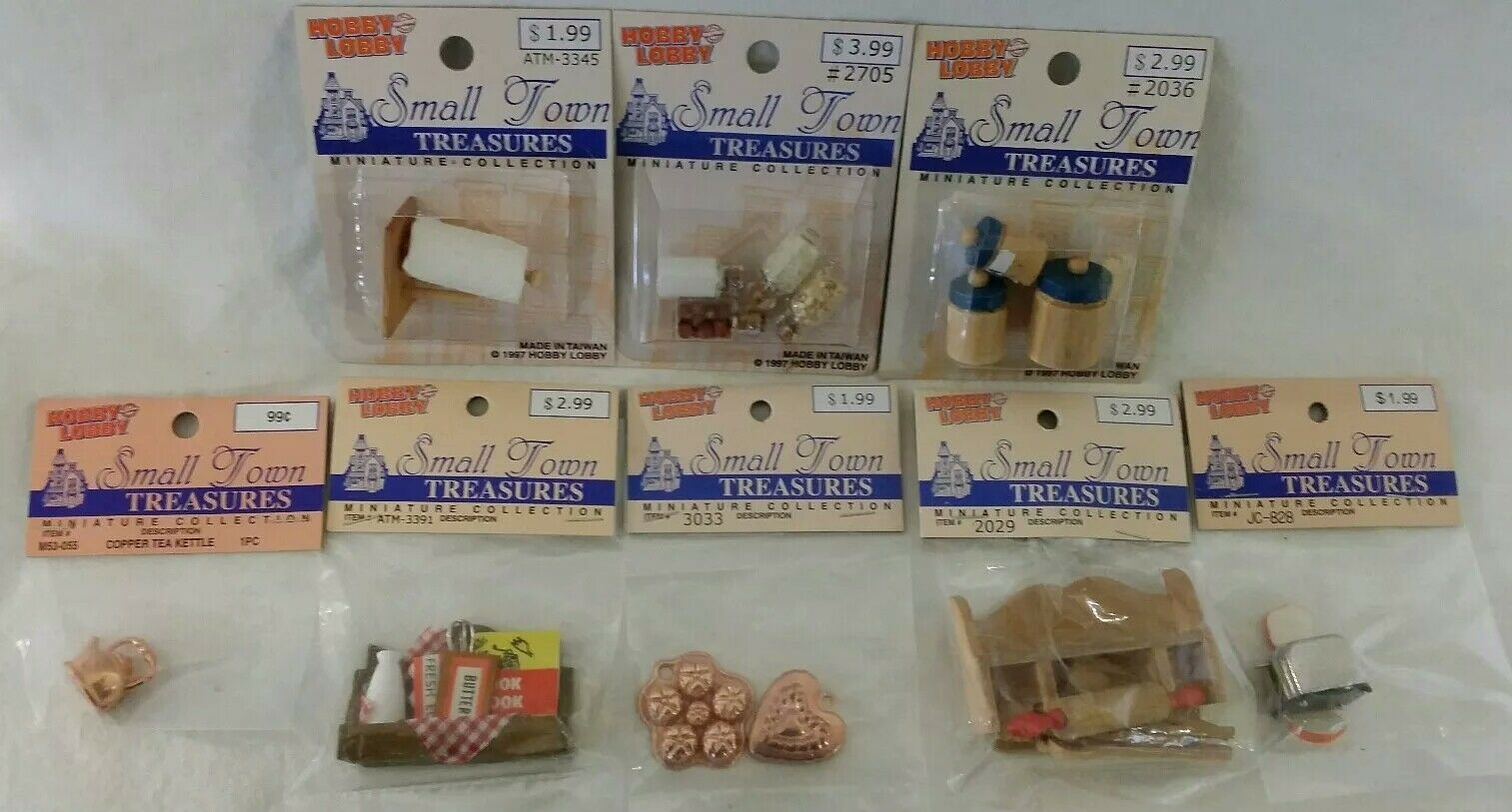 NOS Small Town Treasures Dollhouse Miniature Kitchen Access Lot Wood Metal NEW