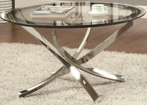 Round Glass Top Coffee Table Chrome Modern 35.5\