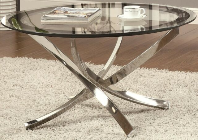 Round Gl Top Coffee Table Chrome Modern 35 5 Diameter Living Room And Office