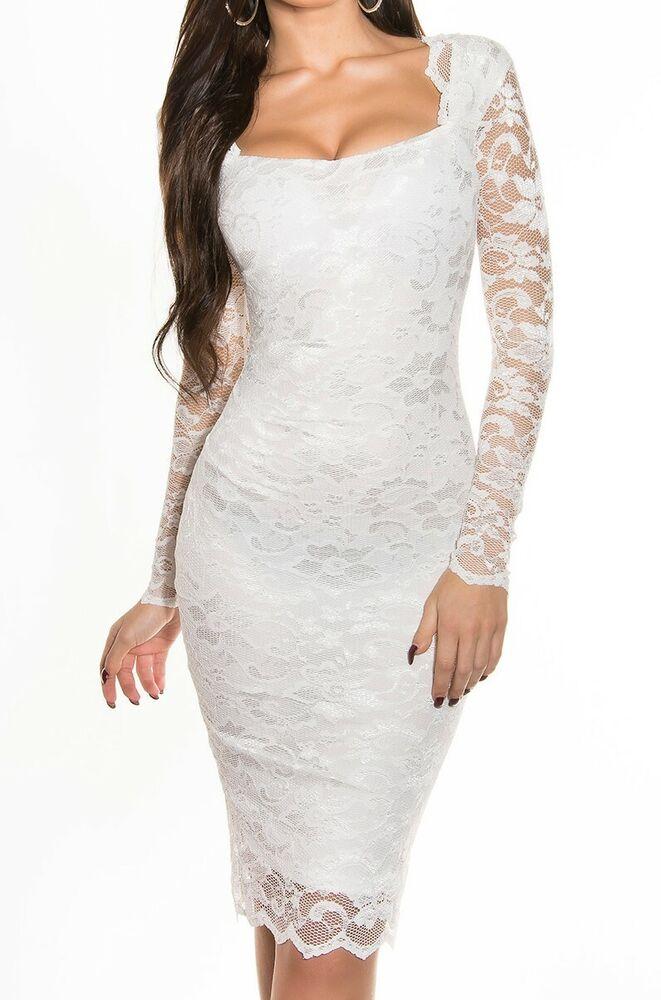 Abito Pizzo Bianco Donna Vestito Ricamato Tubino Manica Lunga Elegante Dress A16