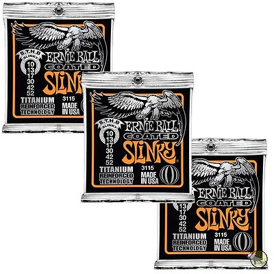 ernie ball 3115 coated sthb skinny top heavy bottom slinky strings 10 52 3 pack ebay. Black Bedroom Furniture Sets. Home Design Ideas