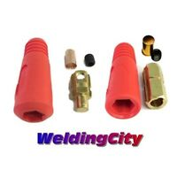 Weldingcity Welding Cable Quick Connector Pair 300a-400a (1-2/0) 50-70 Mm^2 Red