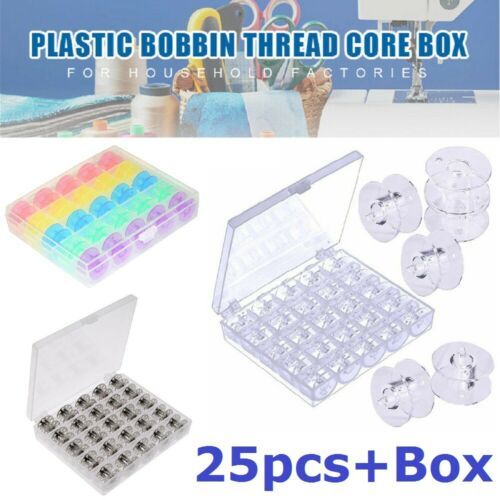 25 Pcs Sewing Machines Metal//Plastic Bobbins Spools Box Brother Janome Singer