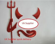FUNNY 3D DEVIL DEMON CAR VEHICLE STICKER DECAL RED CHROME VAUXHALL BMW MAZDA