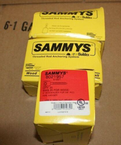 "3 BOXES OF 25 Box Sammys 8021957 3//8"" Rod Sidewinder Hanger 2"" Lag Bolt Anchor"