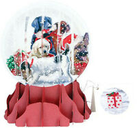 Christmas Dogs Large Snow Globe - Up With Paper Pop-up Christmas Card