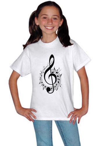 Treble Clef Music Symbol Notes Kids Boys Girls Unisex White Concert  T shirt 77