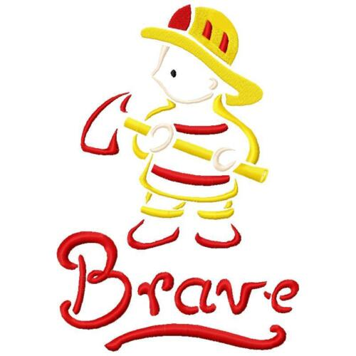 Outline Little Firefighters Set 1 11 Machine Embroidery Designs on CD 10 sizes