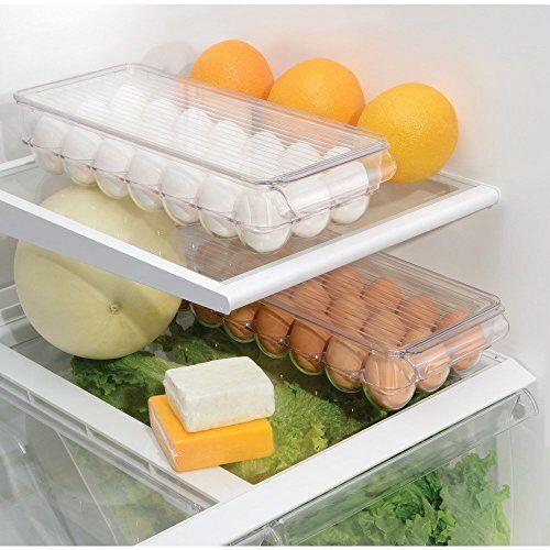 Egg Tray Holder Refrigerator Eggs Storage Lid Fridge Organizer Clear Plastic New