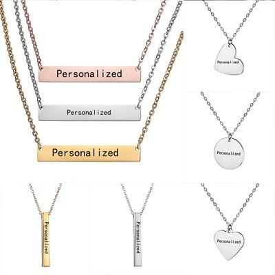 Collar personalizado con nombre personalizado colgante cuboide barra de acero inoxidable colgante para regalo