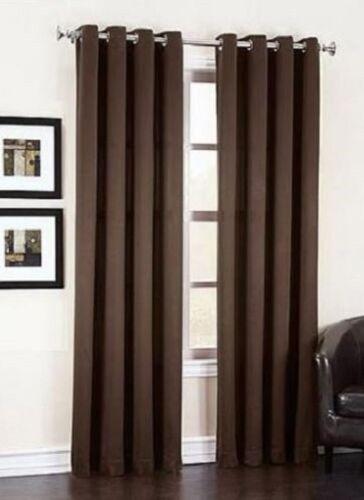 "2 BROWN COFFEE PANELS SILK THERMAL LINED BLACKOUT GROMMET WINDOW CURTAIN K32 95/"""