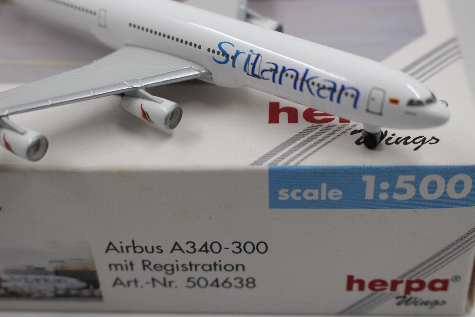 Herpa Wings 1 500 Sri Lankan Airbus a340-300 (504638) RAR