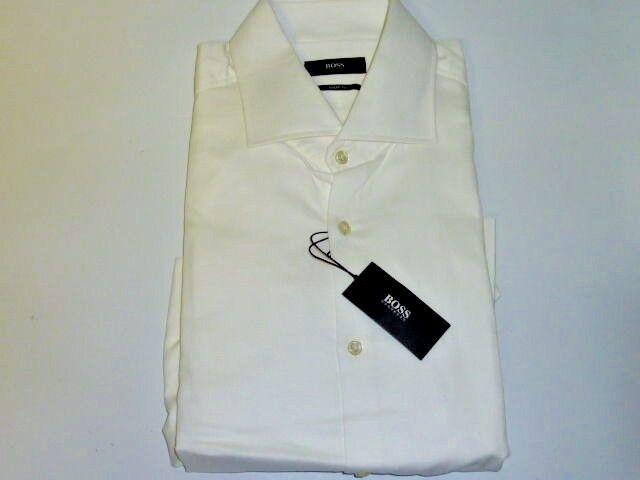 New HUGO BOSS Sharp Fit Casual  Herren Dress Shirt Weiß 125 Retail with tag