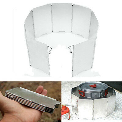 9 Plate Foldable Burner Windshield Outdoor Camping Cooking Gas Stove Wind Shield