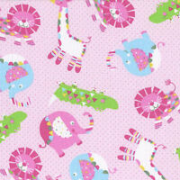 Child's Play: Safari Animals, Pink 100% Cotton Fabric By The Yard