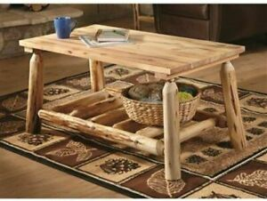 Rustic Wood Coffee Table With Shelf Sy Natural Pine Log Furniture