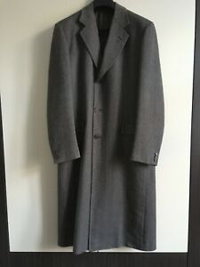 Austin Reed Mens Grey Herringbone 100 Wool Overcoat Long Slit Single Breasted Ebay