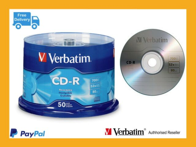 Genuine VERBATIM Recordable CD-R 700MB Spindle 52X ( Pack OF 50 Pieces ) - 94691