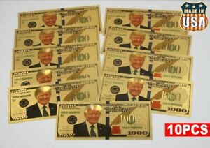 10PCS-President-Donald-Trump-Colorized-1000-Dollar-Bill-Gold-Foil-Banknote-USA