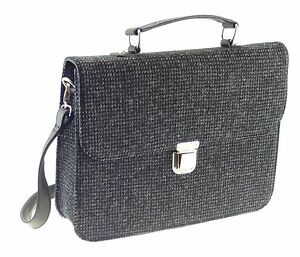 Lb1016 Schwarz Original Auf Herren Farbe Aktentasche Tweed Weiß Harris Flecken 8q01F