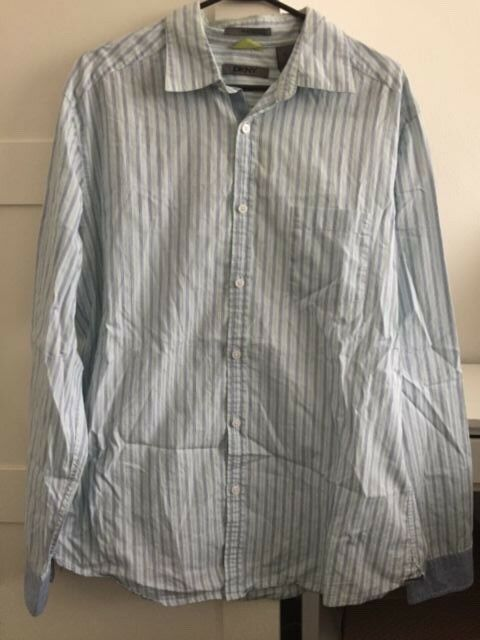Men's DKNY shirt. Size L. Excellent condition. Light blue with Fluor green