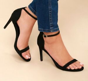 46e499ca336 Details about BARELY USED LULUS ANA BLACK SUEDE ANKLE STRAP HIGH HEELS SIZE  8.5