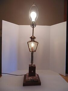 nautical lantern style table lamp w marble wood base ebay. Black Bedroom Furniture Sets. Home Design Ideas
