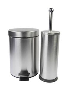 Details zu Badezimmer Set Edelstahl Mülleimer Toilettenbürste WC Garnitur  Set Treteimer