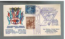 1943 El Salvador TACA Airlines First Flight Cover FFC to USA
