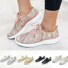 Women Sequin Glitter Sneakers Tennis Lightweight Running Lace Up Athletic Shoes