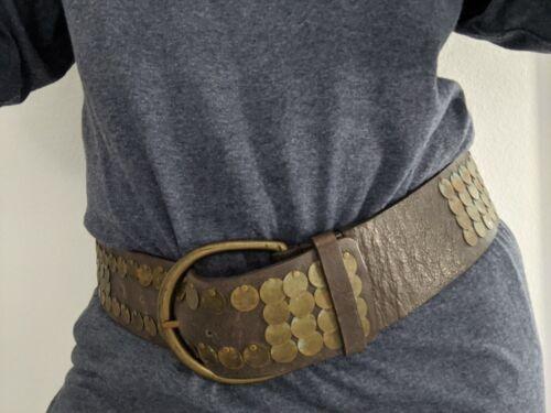 Tan Real Leather Tie Up Belt with Shell Tassels Wide Waist Hip Bikini Belt