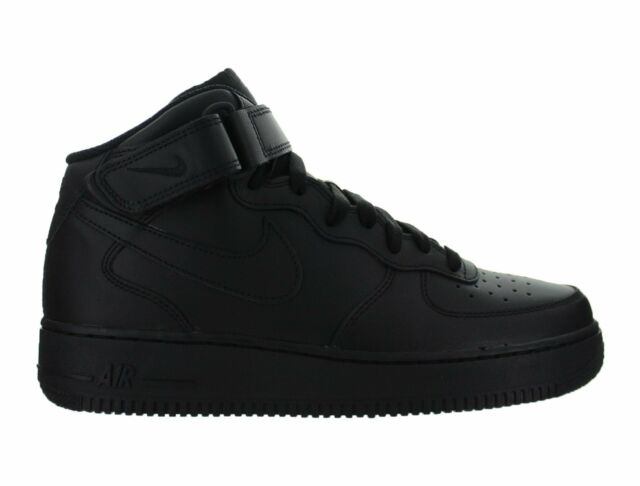 los angeles a6bd2 a7beb Nike Air Force 1 Mid 07 All Black Af1 Mens Lifestyle Casual SNEAKERS ...