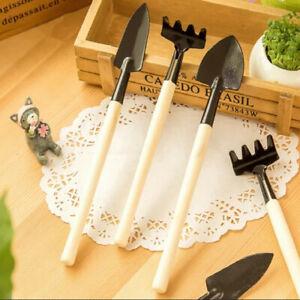 3pcs Mini Portable Metal Head Wooden Handle Shovel Rake Spade Gardening Tool Set