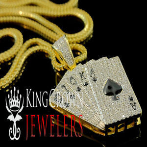 Mens Fine Jewelry Solid 14k White Gold Royal Flush of Spades Poker Pendant Necklace