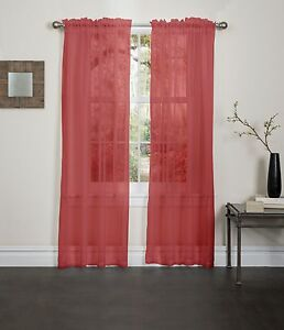 "RED SHEER VOILE WINDOW CURTAIN PANEL, GREAT QUALITY SHEER CURTAIN - 55""X84"""