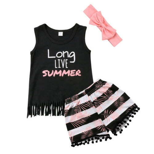 2PCS Summer Baby Kids Girl Toddler Tank Top Vest+Short Pants Outfits Clothes New