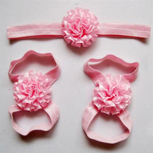 FASHIONABLE 3 PIECE BABY//GIRL SATIN FLOWER HEADBAND /& BAREFOOT SANDALS 6 COLS