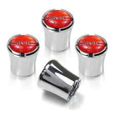 GMC Logo Tire Valve Stem Caps Red and Silver Set of 4 MADE IN USA