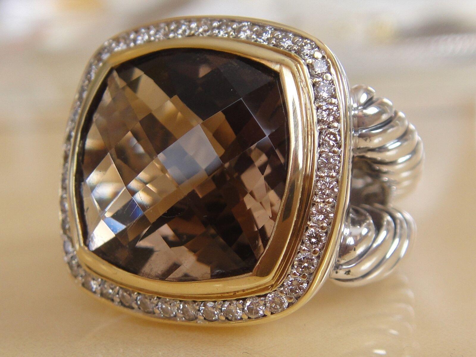 2450 DAVID YURMAN 18K gold ,SS DIAMOND SMOKY QUARTZ RING