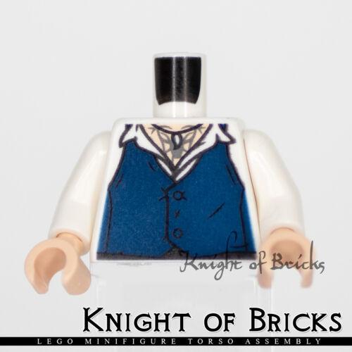 LEGO Minifigure Torso 514 WHITE Shirt with Dark Blue Vest Claw Necklace
