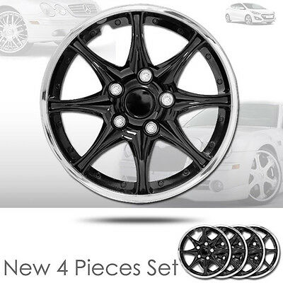 New 15 inch Black Hubcaps Wheel Covers Full Lug Skin Hub Cap Set 522 For Hyundai