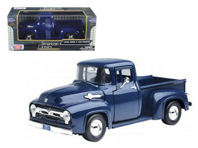Contemporary Manufacture Nice 1/24 Motormax 1956 Ford F-100 Pickup Diecast Model Car Dark Blue 73235 Bright In Colour Diecast & Toy Vehicles