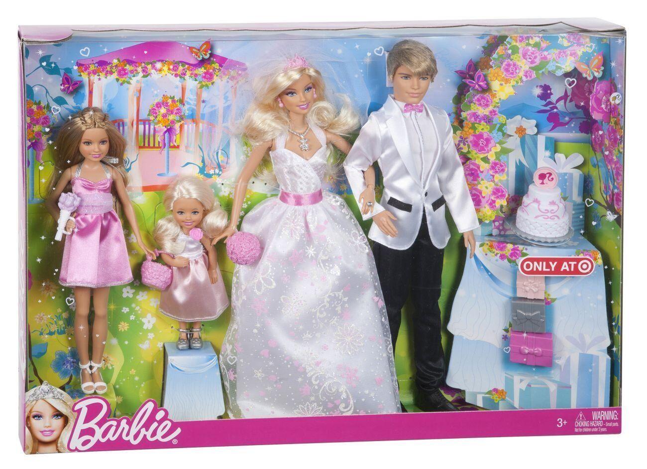 Rara muñeca Barbie que puedo ser novia boda día Set 4 Pack Barbie, Ken, Stacie, Kelly