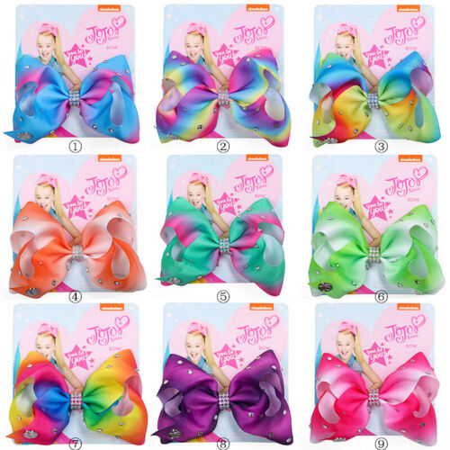 "NEW 5/""Cartoon JoJo Siwa Rainbow Hair Bow With Alligator Clip Girl Kids Bowknot"