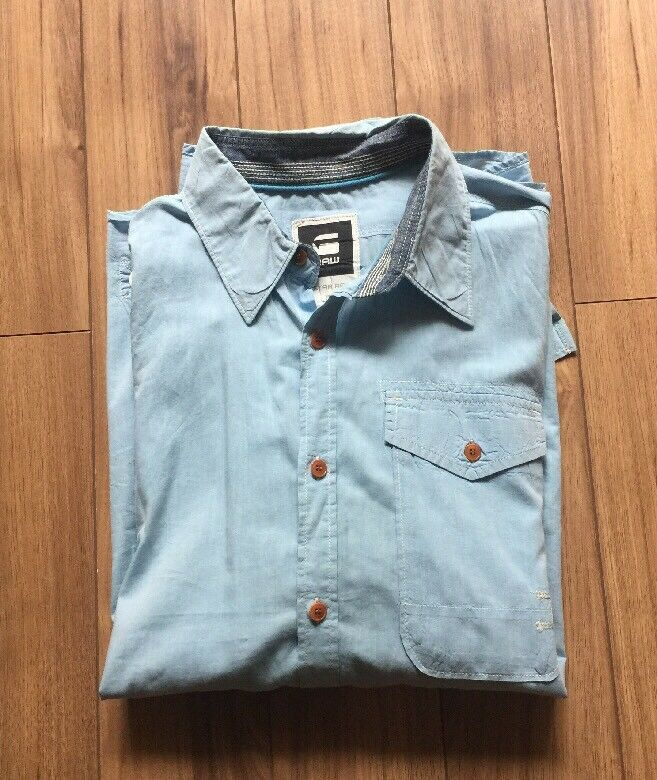 G Star Raw Denim Shirt Button Down Men's XL