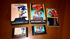 Sonic-The-Hedgehog-Sega-Mega-Drive-Spiele-Bundle-1-amp-2-16-Bit-Patronen-Boxed