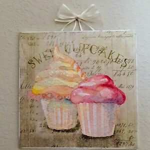 Shabby Paris French Sweet Cupcakes Plaque Sign Wall Decor Distressed